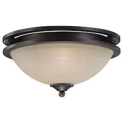 Craftmade Two Light Old Bronze Faux Alabaster Shade Bowl Flush Mount