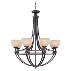 Craftmade Eight Light Old Bronze Faux Alabaster Shade Up Chandelier