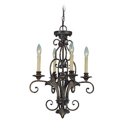 Craftmade Four Light Burleson Bronze Up Chandelier
