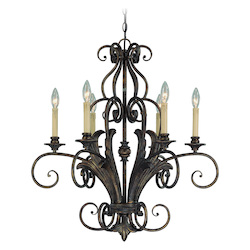 Craftmade Six Light Burleson Bronze Up Chandelier