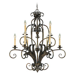 Craftmade Nine Light Burleson Bronze Up Chandelier