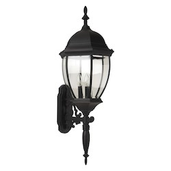 Craftmade Matte Black Bent Glass 3 Light Outdoor Wall Sconce - 12.8 Inches Wide