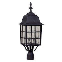Craftmade Matte Black Grid Cage 1 Light Outdoor Post Light