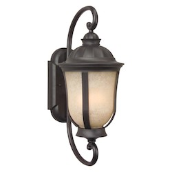 Craftmade Wall Lantern With Amber Frosted Glass Shades, Bronze Finish