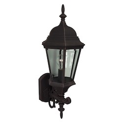 Craftmade Wall Lantern With Beveled Glass Shades, Rust Finish