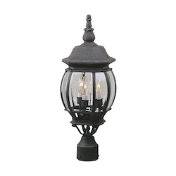 Craftmade Matte Black French Style 3 Light Outdoor Post Light