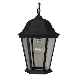 Craftmade Matte Black Straight Glass 1 Light Lantern Outdoor Pendant - 9.5 Inches Wide