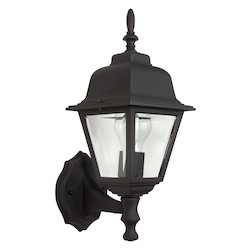Craftmade Matte Black Straight Glass 1 Light Outdoor Wall Sconce - 6 Inches Wide