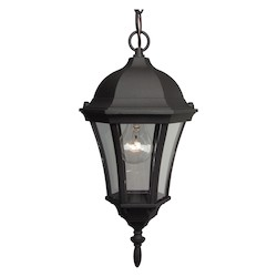 Craftmade Matte Black Curved Glass 1 Light Lantern Outdoor Pendant - 8 Inches Wide