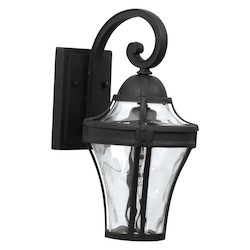 Craftmade Wall Lanterns With Clear Hammered Glass Shades, Black