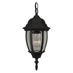 Craftmade Matte Black Bent Glass 1 Light Outdoor Pendant - 6.5 Inches Wide