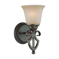Craftmade One Light Century Bronze Painted Glass Bathroom Sconce