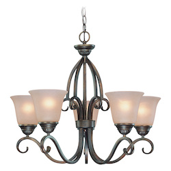 Craftmade Five Light Century Bronze Painted Glass Up Chandelier