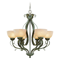 Craftmade Six Light Brownstone Faux Alabaster Shade Up Chandelier