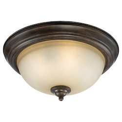 Craftmade Three Light Century Bronze Painted Glass Bowl Flush Mount
