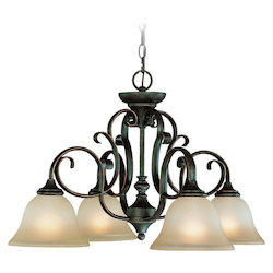 Craftmade Four Light Mocha Bronze Etched; Painted Glass Down Chandelier