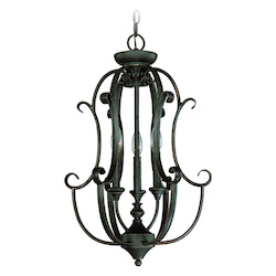 Craftmade Three Light Mocha Bronze Open Frame Foyer Hall Fixture