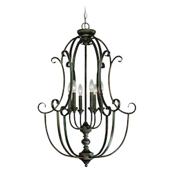 Craftmade Six Light Mocha Bronze Open Frame Foyer Hall Fixture