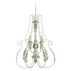 Craftmade Six Light Antique Linen Open Frame Foyer Hall Fixture