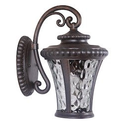 Craftmade Wall Lantern With Clear Hammered Glass Shades, Peruvian Bronze Finish