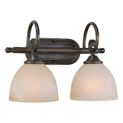 Craftmade Two Light Old Bronze Faux Alabaster Shade Vanity