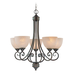 Craftmade Five Light Old Bronze Faux Alabaster Shade Up Chandelier