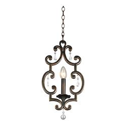 Kalco One Light Vintage Iron Down Mini Pendant