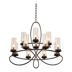 Kalco Heirloom Bronze Grayson 12 Light 2 Tier Chandelier