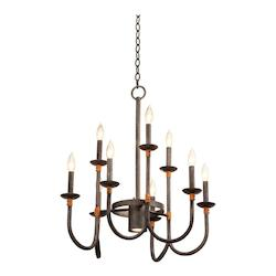 Kalco Natural Iron Bentham 10 Light 2 Tier Candle Style Chandelier