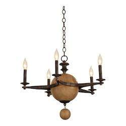 Kalco Florence Gold Hampton 5 Light 1 Tier Candle Style Chandelier