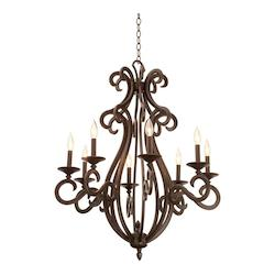 Kalco Eight Light Tortoise Shell Leather-Wrapped Glass Up Chandelier