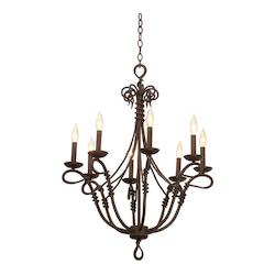Kalco Eight Light Bark Leather-Wrapped Glass Up Chandelier