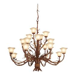 Kalco Twenty Light Ponderosa Smoked Taupe Glass Up Chandelier