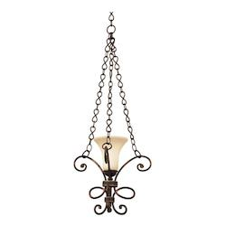 Kalco One Light Antique Copper Ecru Glass Up Mini Pendant