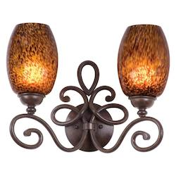 Kalco Two Light Antique Copper Gold-Streaked Amber Glass Vanity