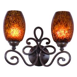 Kalco Two Light Antique Copper Iridescent Shell Glass Vanity