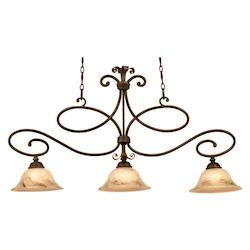 Kalco Three Light Antique Copper Glass Gold-Streaked Amber Glass Island Lig