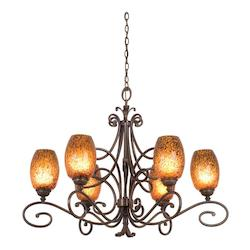 Kalco Six Light Antique Copper Gold-Streaked Amber Glass Up Chandelier