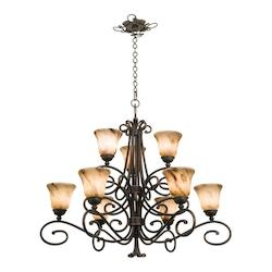 Kalco Nine Light Antique Copper Gold-Streaked Amber Glass Up Chandelier