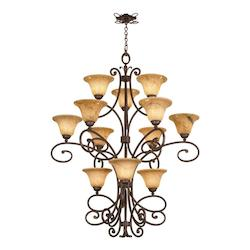 Kalco Twelve Light Antique Copper Gold-Streaked Amber Glass Up Chandelier