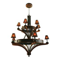 Kalco Natural Iron Aspen 12 Light 2 Tier Chandelier