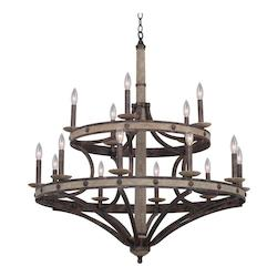 Kalco Florence Gold Coronado 15 Light 2 Tier Chandelier