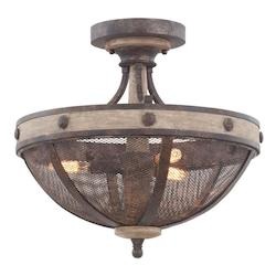 Kalco Florence Gold Coronado 3 Light Semi-Flush Ceiling Fixture