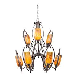 Kalco Heirloom Bronze Mateo 9 Light 2 Tier Chandelier