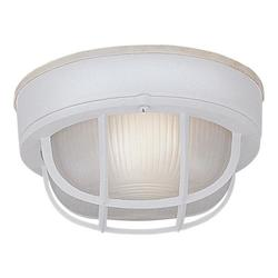 Designers Fountain White 1 Light 7.75in. Round Bulkhead with guard