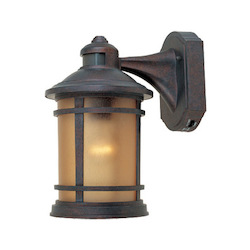 Designers Fountain Open Box Mediterranean Patina w/sunlit cpr 1 Light 7in. Cast Aluminum Wall Lantern with Motion Detector and Photocell Modes
