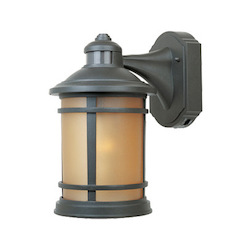 Designers Fountain Open Box Oil Rubbed Bronze 1 Light 7in. Cast Aluminum Wall Lantern with Motion Detector