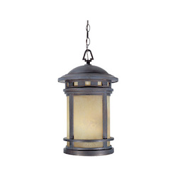 Designers Fountain Sedona Hanging Lantern With Mediterranean Patina And Amber Finish