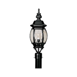 Designers Fountain Black 3 Light 7.5in. Cast Aluminum Post Lantern from the Riviera Collection