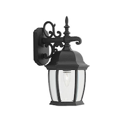 Designers Fountain Black 1 Light 8in. Cast Aluminum Wall Lantern from the Tiverton Collection